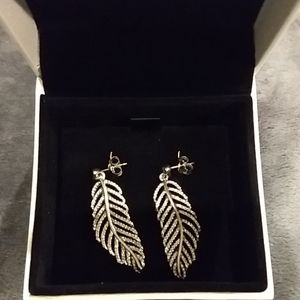 Genuine Pandora Silver Light as a Feather Earrings